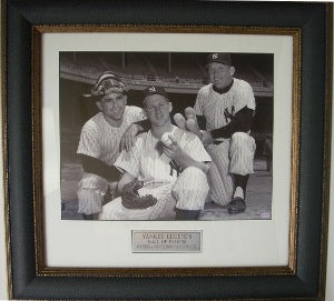 Yogi Berra NY Yankees 11X14 Vintage B&W Photo Premium Leather Framing w/ Whitey Ford & Mickey Mantle PSM-Powers Sports Memorabilia