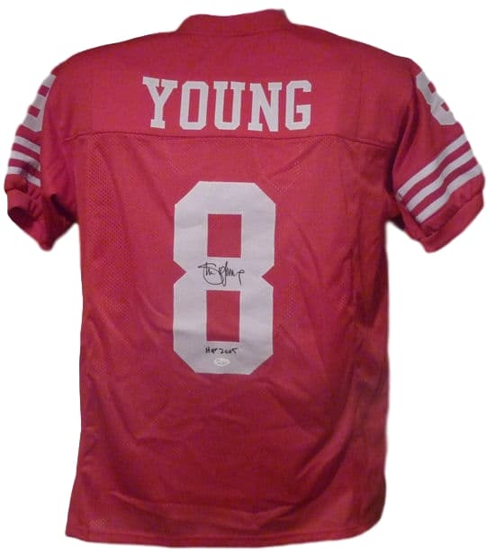 Steve Young Autographed San Francisco 49ers XL Red Jersey JSA PSM-Powers Sports Memorabilia