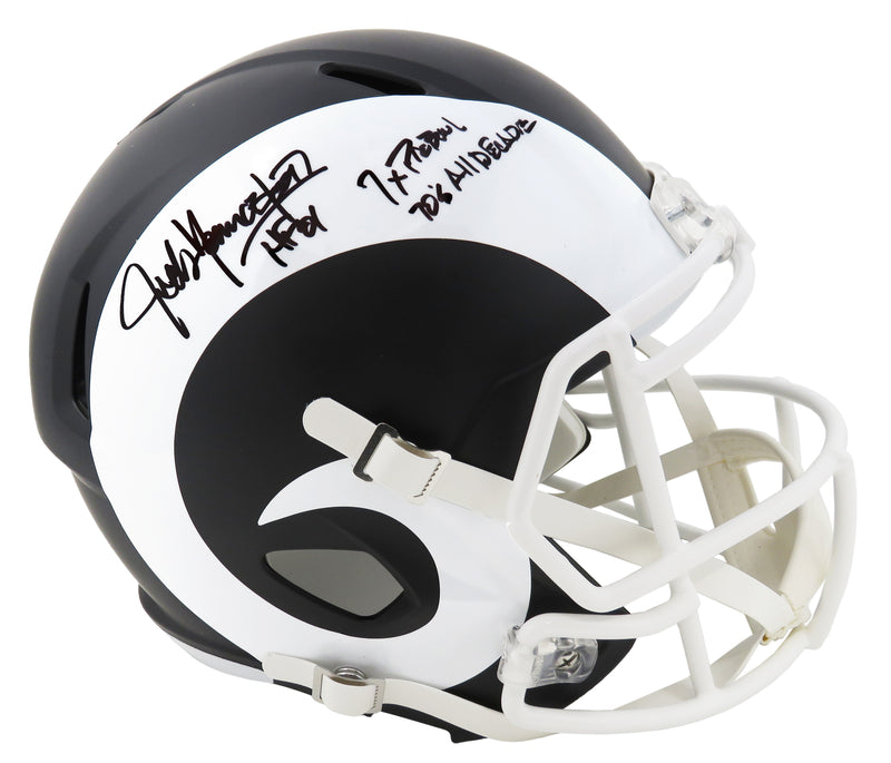 Jack Youngblood Signed Los Angeles Rams Flat Black Matte Riddell Full Size Replica Helmet w/HF'01, 7x Pro Bowl, 70's All Decade PSM-Powers Sports Memorabilia