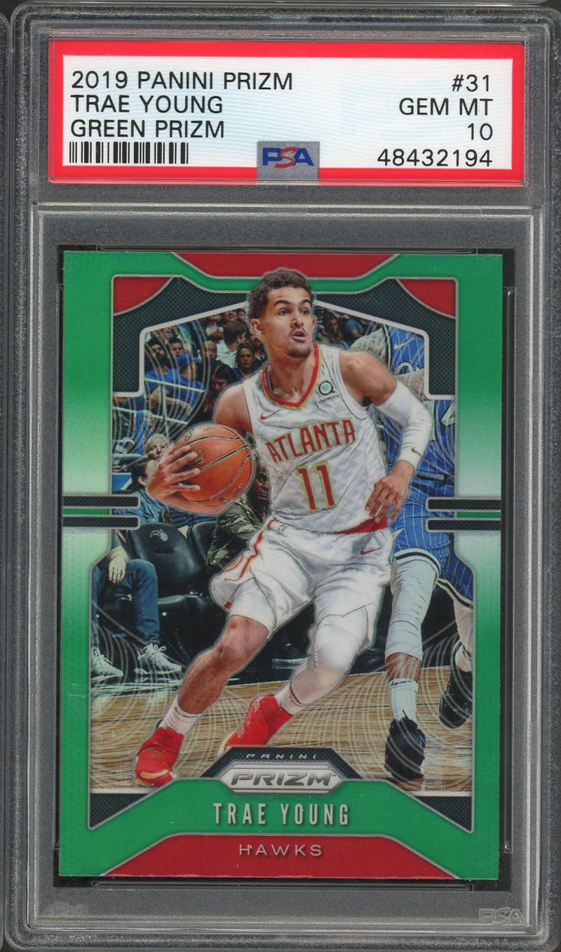 Trae Young Atlanta Hawks 2019 Panini Prizm Green Basketball Card #31 Graded PSA 10 GEM MINT-Powers Sports Memorabilia