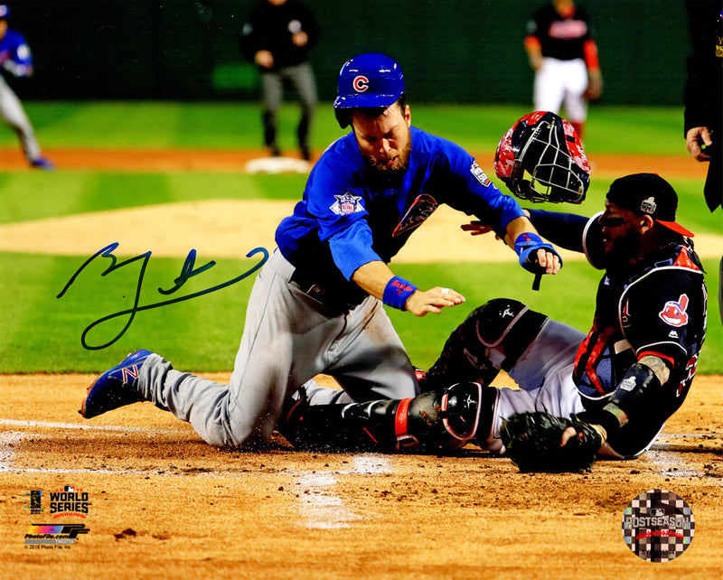 Ben Zobrist Signed Chicago Cubs 2016 World Series Home Plate Collision 8x10 Photo PSM-Powers Sports Memorabilia