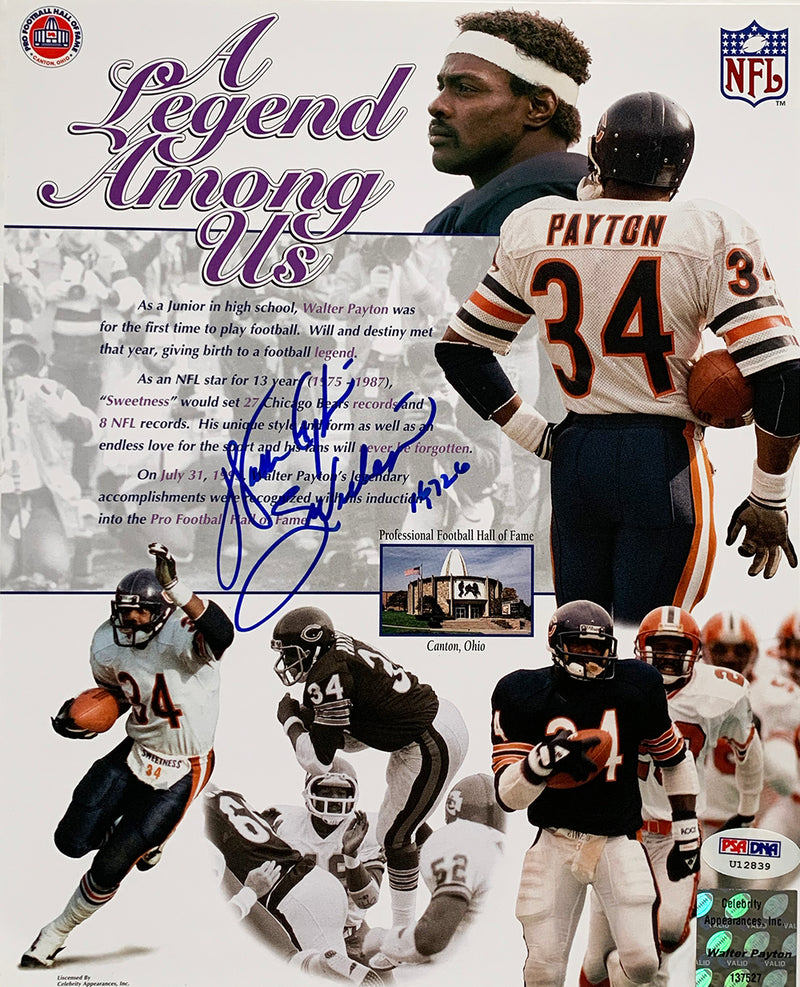 Walter Payton Chicago Bears Signed 8x10 Collage Photo Inscribed Sweetness PSA PSM-Powers Sports Memorabilia