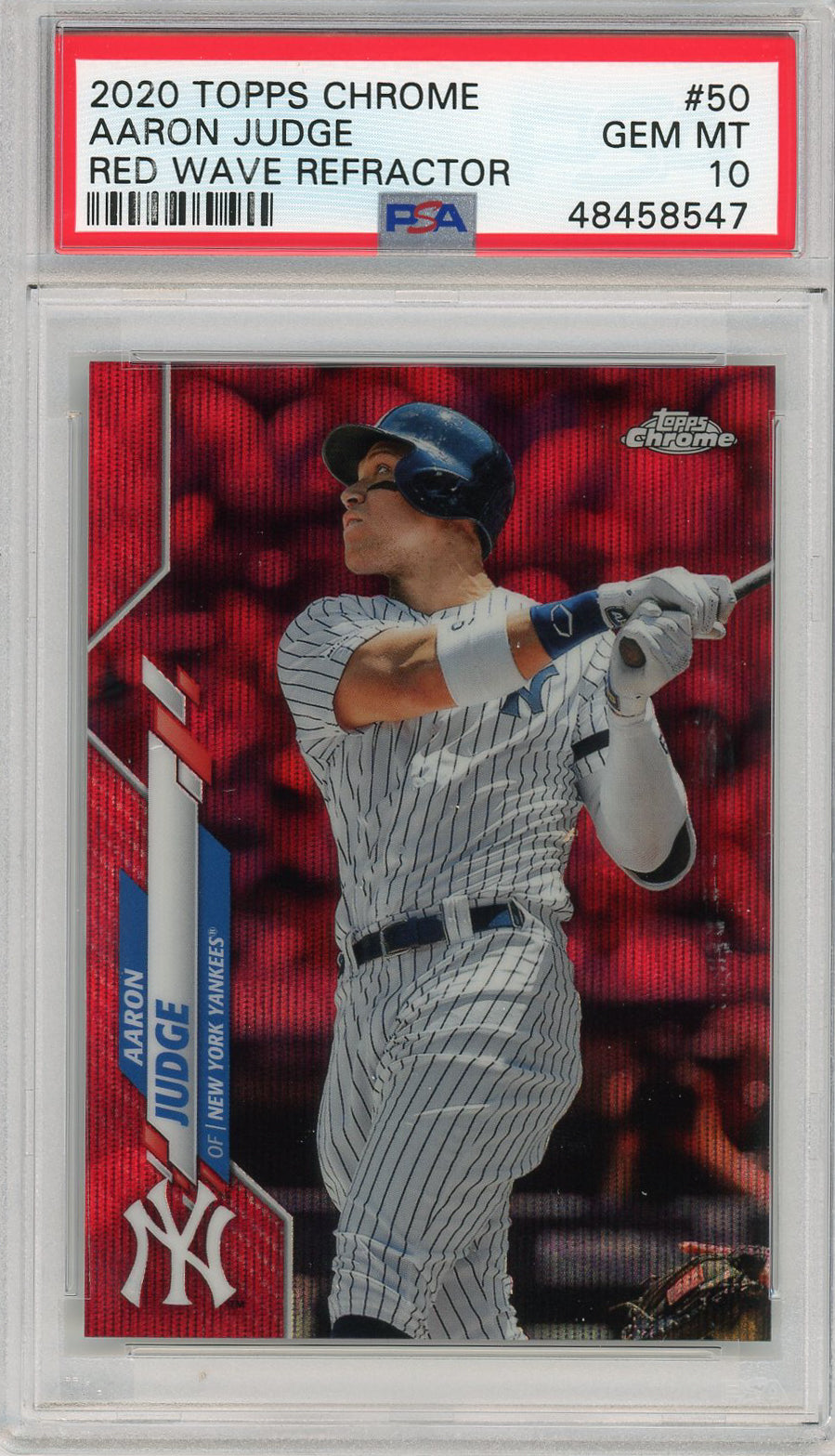 Aaron Judge New York Yankees 2020 Topps Chrome Red Wave Refractor Baseball Card #50 Graded PSA 10 GEM MINT 1/5-Powers Sports Memorabilia