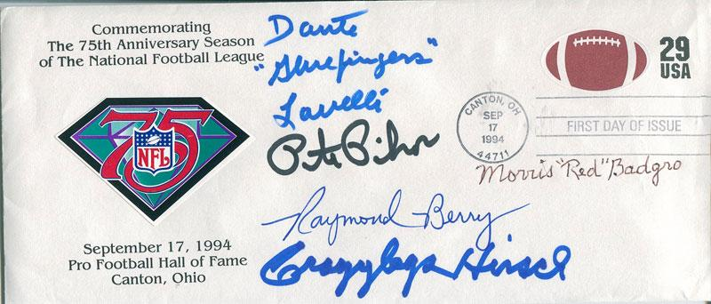 "Dante ""Glue Fingers Lavelli, Pete Pihos, Crazy Legs Hirsch, Morris ""Red"" Badgro, and Raymond Berry Autographed 1994 First Day of Issue Cache PSM-Powers Sports Memorabilia"