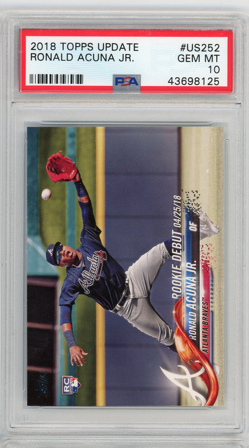 Ronald Acuna Jr MLB 2018 Topps Update Baseball Rookie Card RC #US252 Graded PSA 10 GEM MINT-Powers Sports Memorabilia