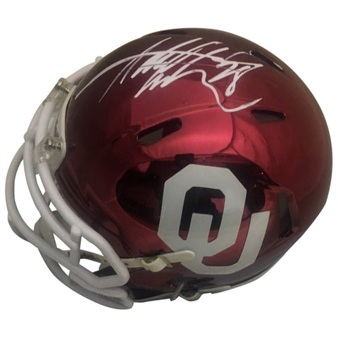 Adrian Peterson Autographed Oklahoma Sooners Chrome Signed Football Mini Helmet JSA COA-Powers Sports Memorabilia