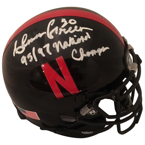 Ahman Green Autographed Nebraska Cornhuskers Signed Black Football Mini Helmet CHAMPS JSA COA-Powers Sports Memorabilia