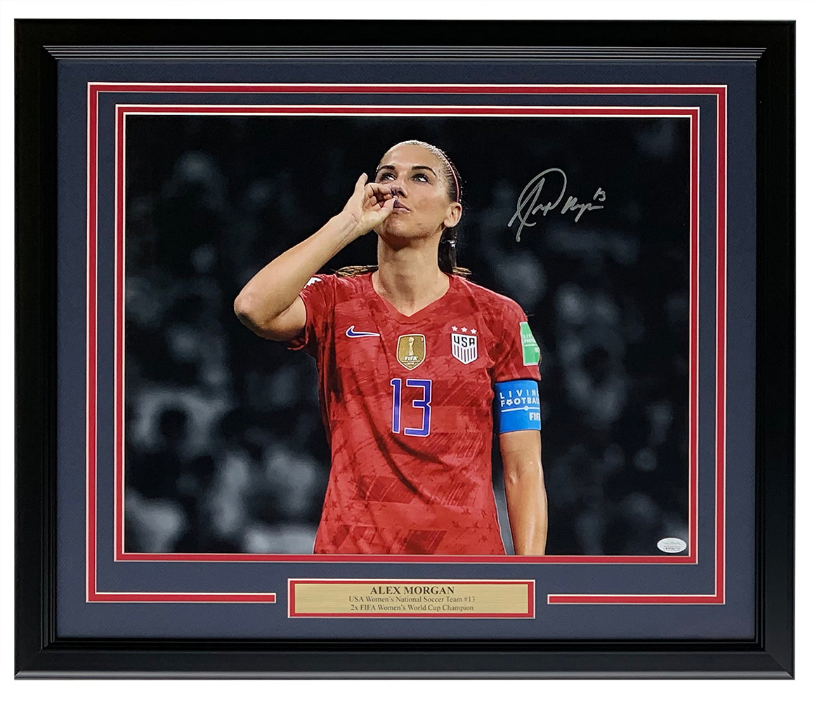 Alex Morgan Team USA Signed Framed Teacup Spotlight 16x20 Photo JSA PSM-Powers Sports Memorabilia