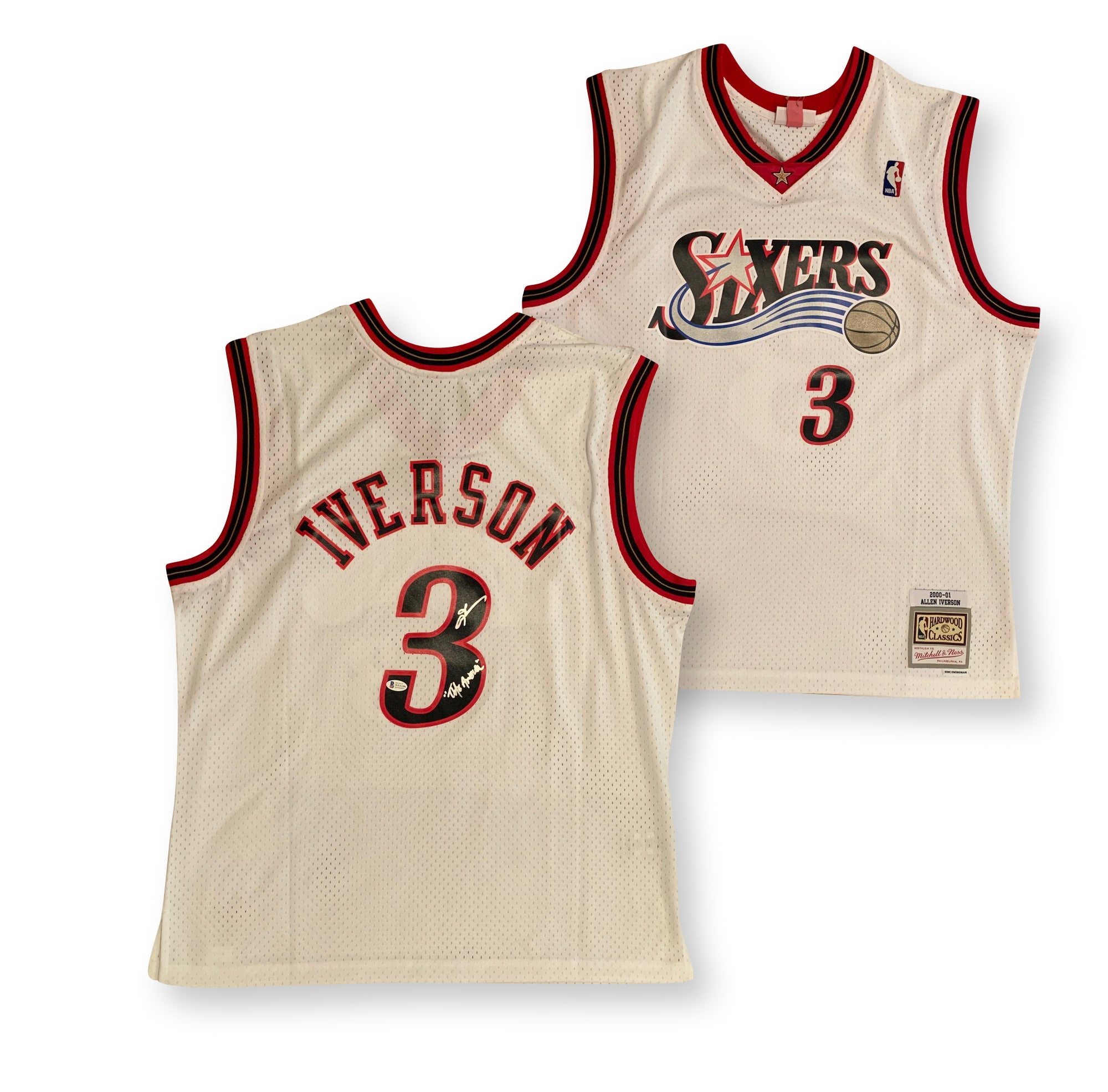 Allen Iverson Autographed Philadelphia 76ers Michell and Ness Swingman Signed Basketball Jersey THE ANSWER Beckett BAS COA-Powers Sports Memorabilia