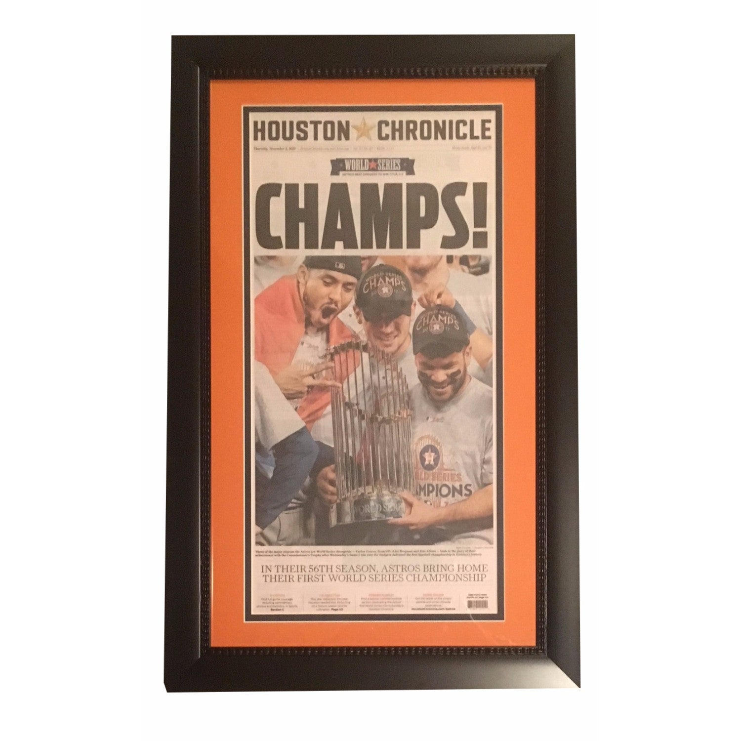 Excellent Houston Chronicle Astros Framed Newspaper 2017 World Series TG85