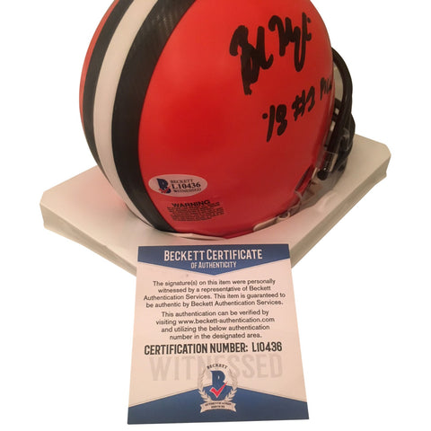 Baker Mayfield Autographed Cleveland Browns Signed Football Mini Helmet 2018 1st Draft Pick Beckett COA-Powers Sports Memorabilia