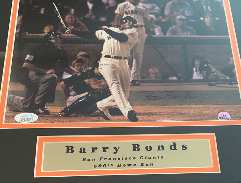 Barry Bonds Autographed San Francisco Giants Signed 11x14 Framed Photo 600 Home Run JSA COA-Powers Sports Memorabilia