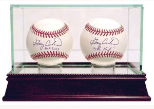 Baseball 2-Ball Glass Deluxe Display Case PSM-Powers Sports Memorabilia