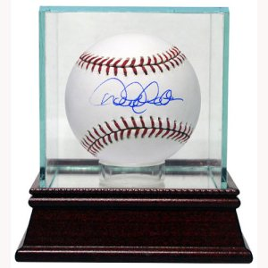 Baseball 1-Ball Glass Deluxe Display Case W/ Wood Base and Mirror PSM-Powers Sports Memorabilia