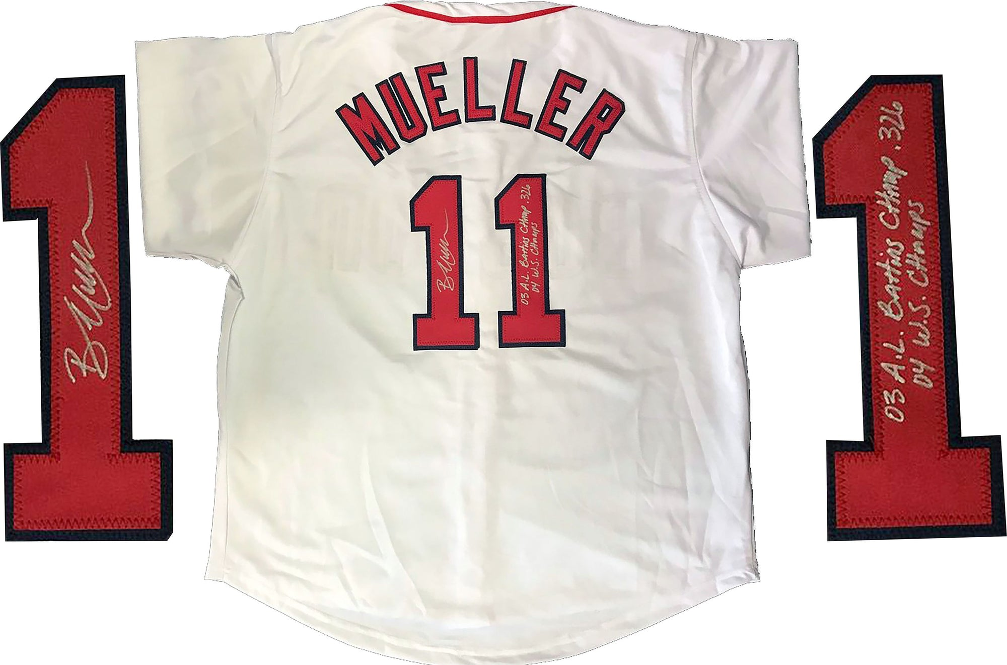 "Bill Mueller ""03 AL Batting Champ .326 04 WS Champs"" Autographed Boston Red Sox Jersey PSM-Powers Sports Memorabilia"