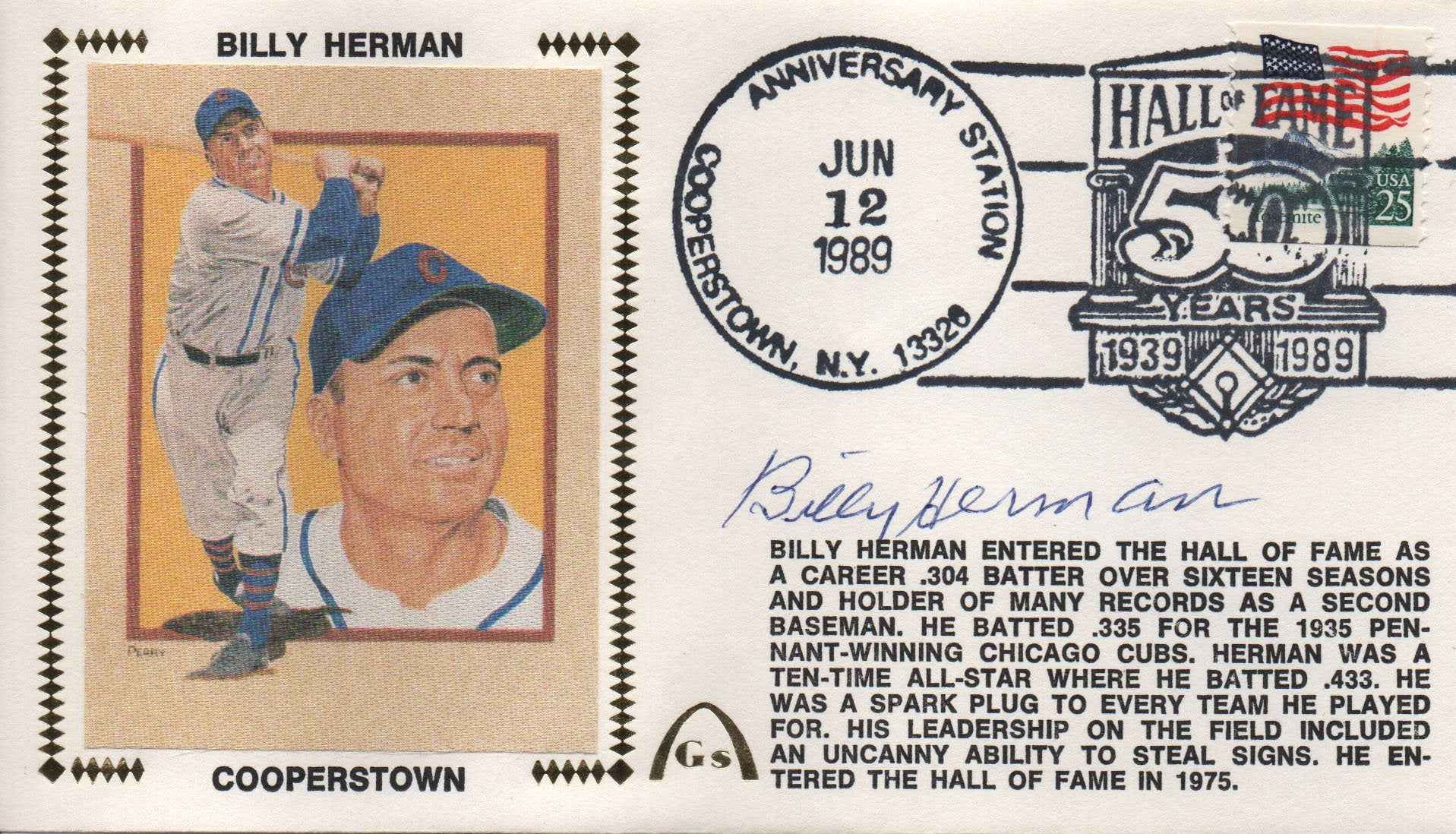 Billy Herman Autographed June 12, 1989 First Day Cover PSM-Powers Sports Memorabilia