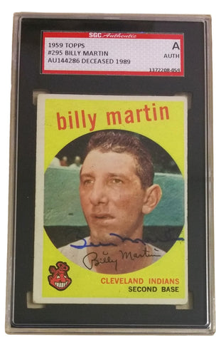 Billy Martin Cleveland Indians Signed Slabbed 1959 Topps Trading Card SGC PSM-Powers Sports Memorabilia