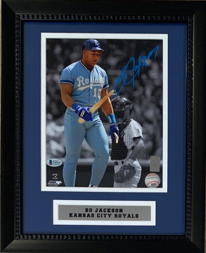 Bo Jackson Autographed Kansas City Royals Breaking Bat Signed Baseball 8x10 Framed Photo Beckett BAS COA-Powers Sports Memorabilia