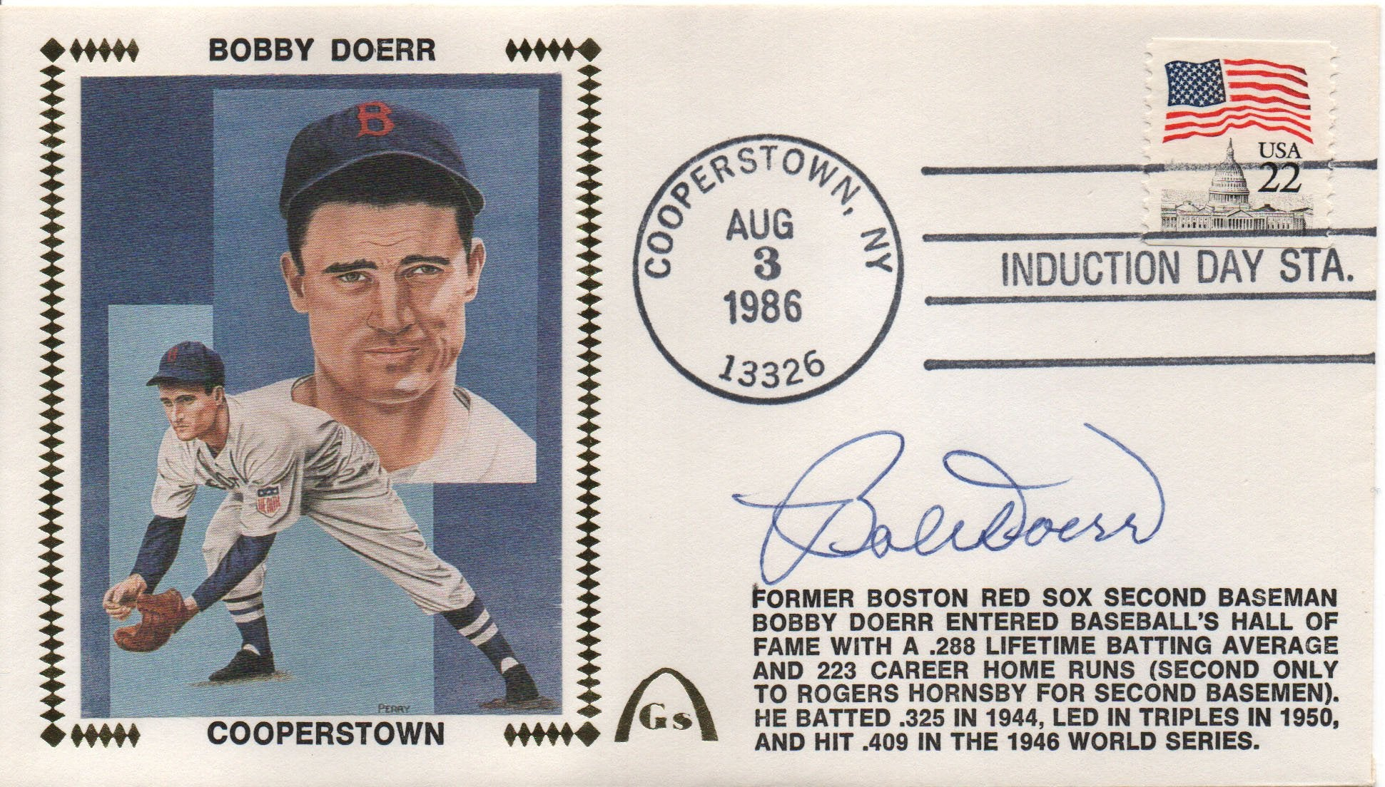Bobby Doerr Autographed Aug 3, 1986 First Day Cover PSM-Powers Sports Memorabilia