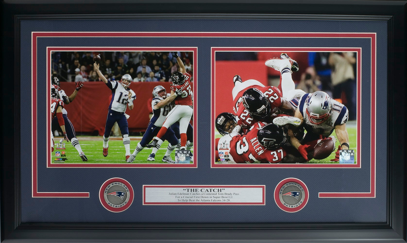 Tom Brady Julian Edelman Framed New England Patriots Super Bowl 51 The Catch Collage PSM-Powers Sports Memorabilia
