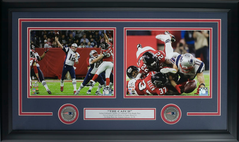 Tom Brady Julian Edelman Framed Patriots Super Bowl 51 The Catch Collage PSM-Powers Sports Memorabilia