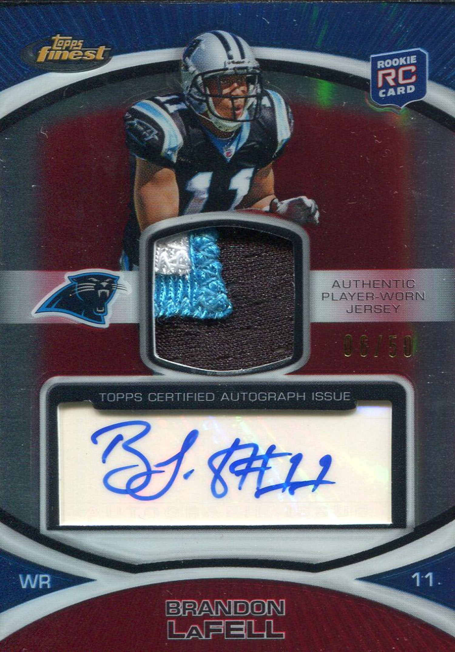 Brandon LaFell Autographed 2010 Topps Finest Rookie Jersey Card PSM
