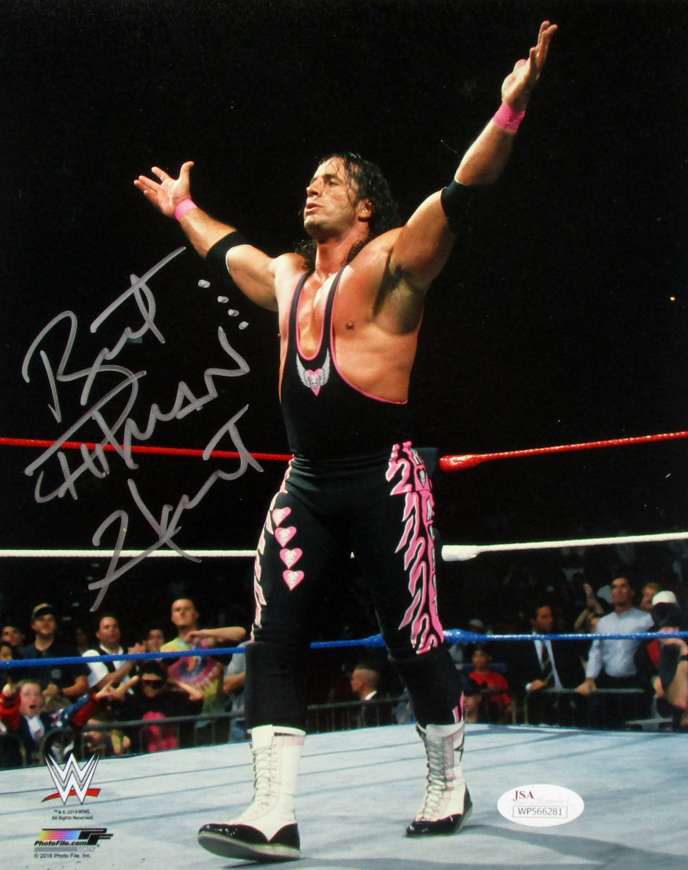 Bret Hart Signed WWE 8x10 Arms Open Photo JSA ITP PSM-Powers Sports Memorabilia