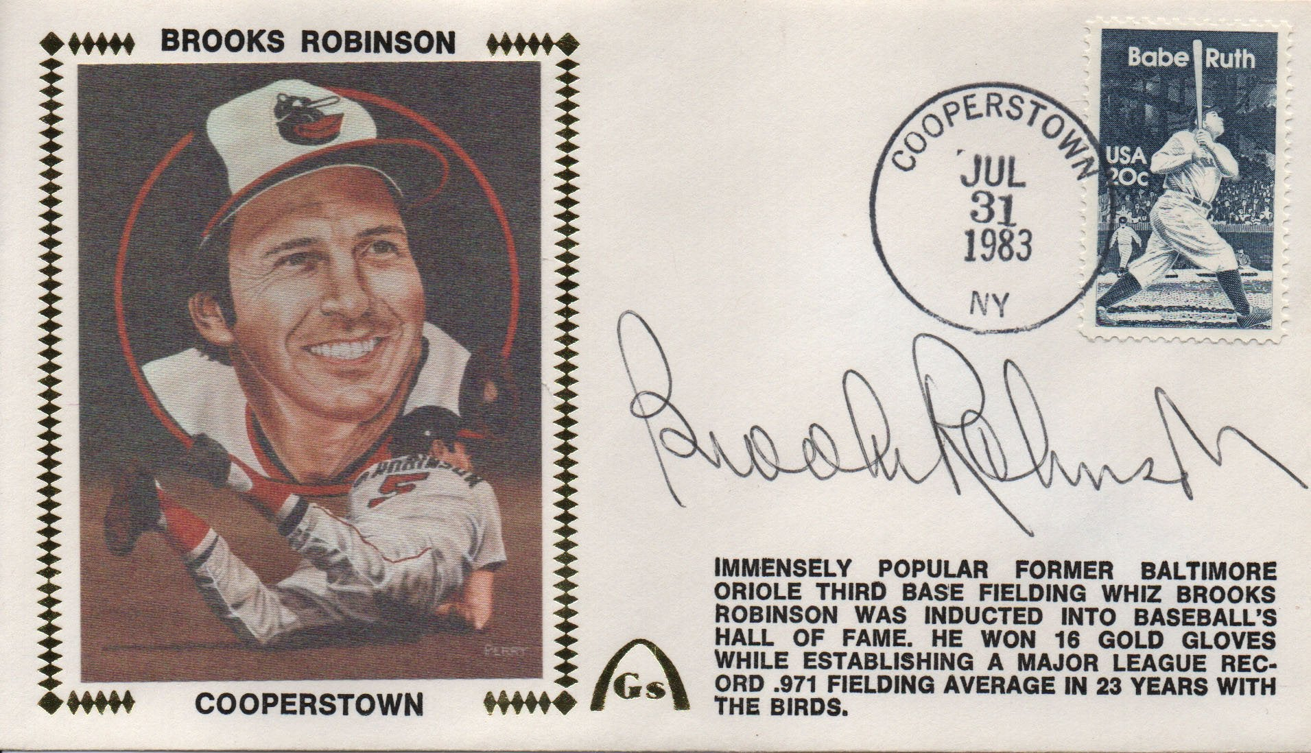 Brooks Robinson Autographed July 31, 1983 First Day Cover PSM-Powers Sports Memorabilia