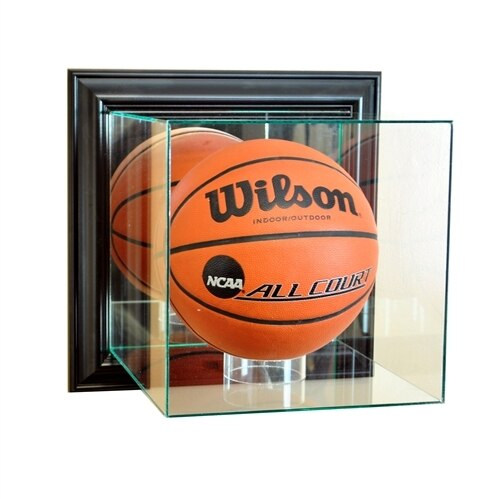 Wall Mounted Basketball UV Protected Display Case w/ Black Base PSM-Powers Sports Memorabilia