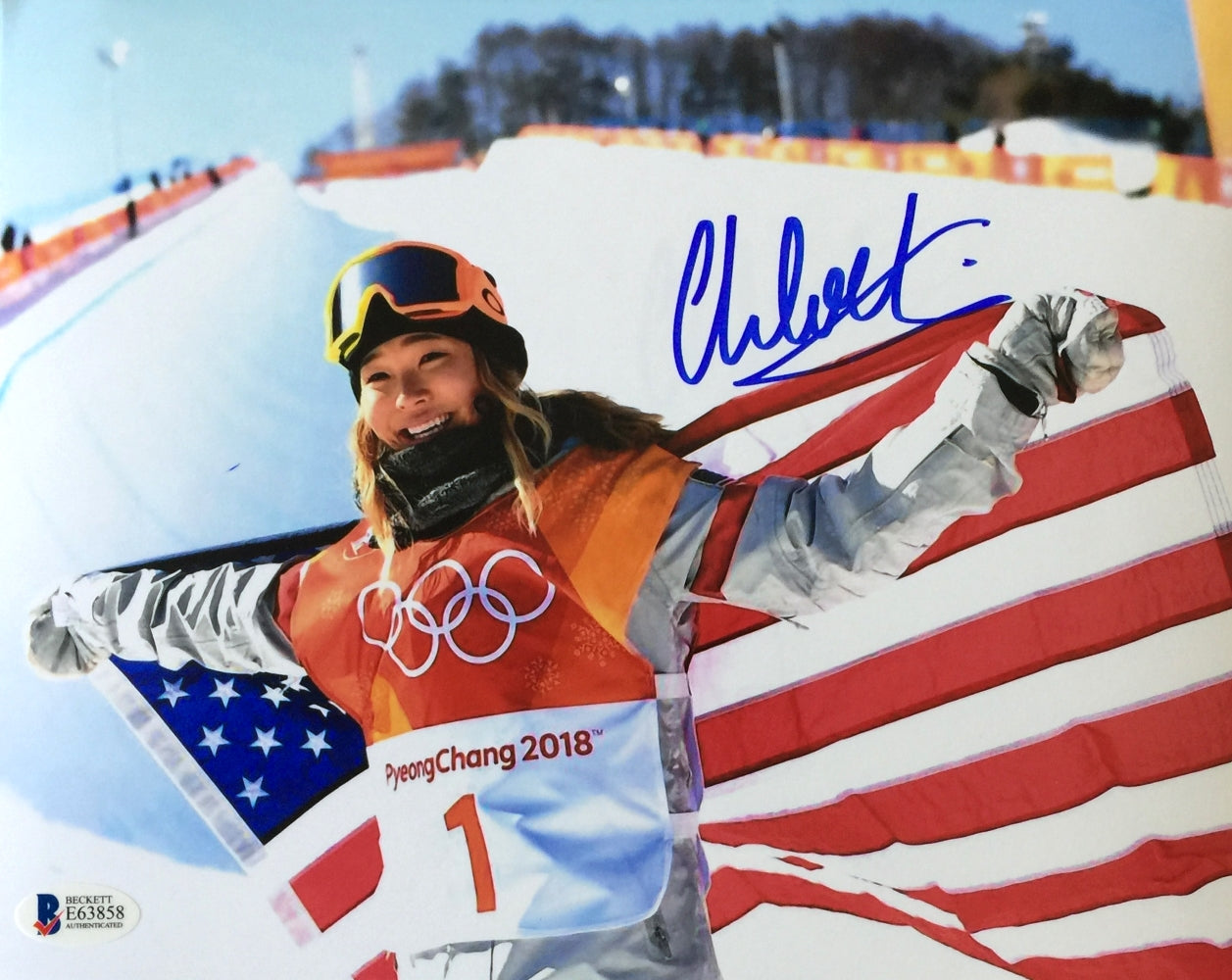 Chloe Kim Signed 8x10 Flag Photo Olympic Gold Medalist BAS PSM-Powers Sports Memorabilia