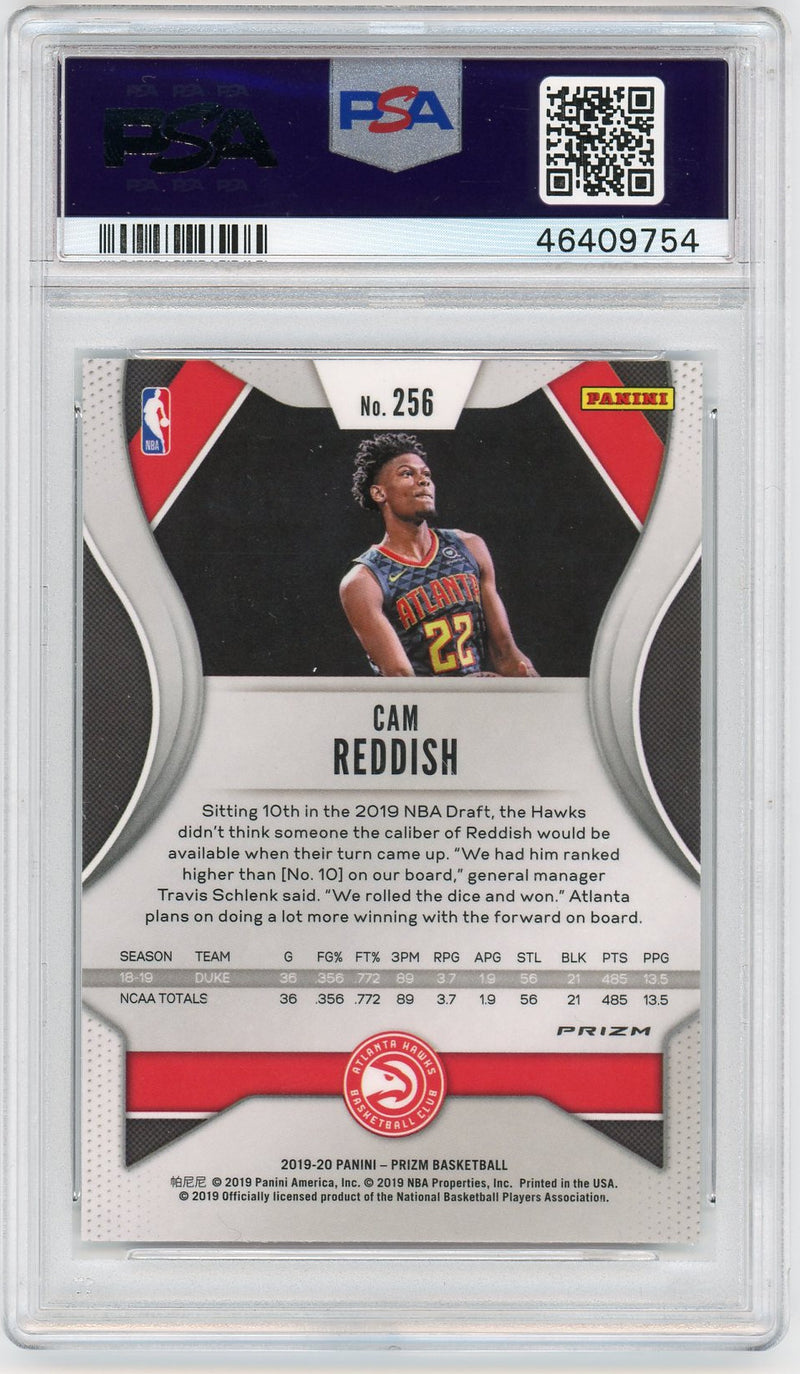 Cam Reddish Atlanta Hawks 2019-20 Panini Silver Prizm Rookie Card RC #256 Graded PSA 9 MINT-Powers Sports Memorabilia