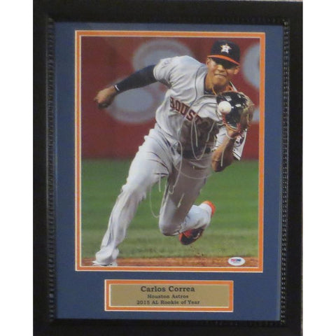 Carlos Correa Autographed Houston Astros Framed Signed 11x14 Baseball Photo PSA DNA COA 3