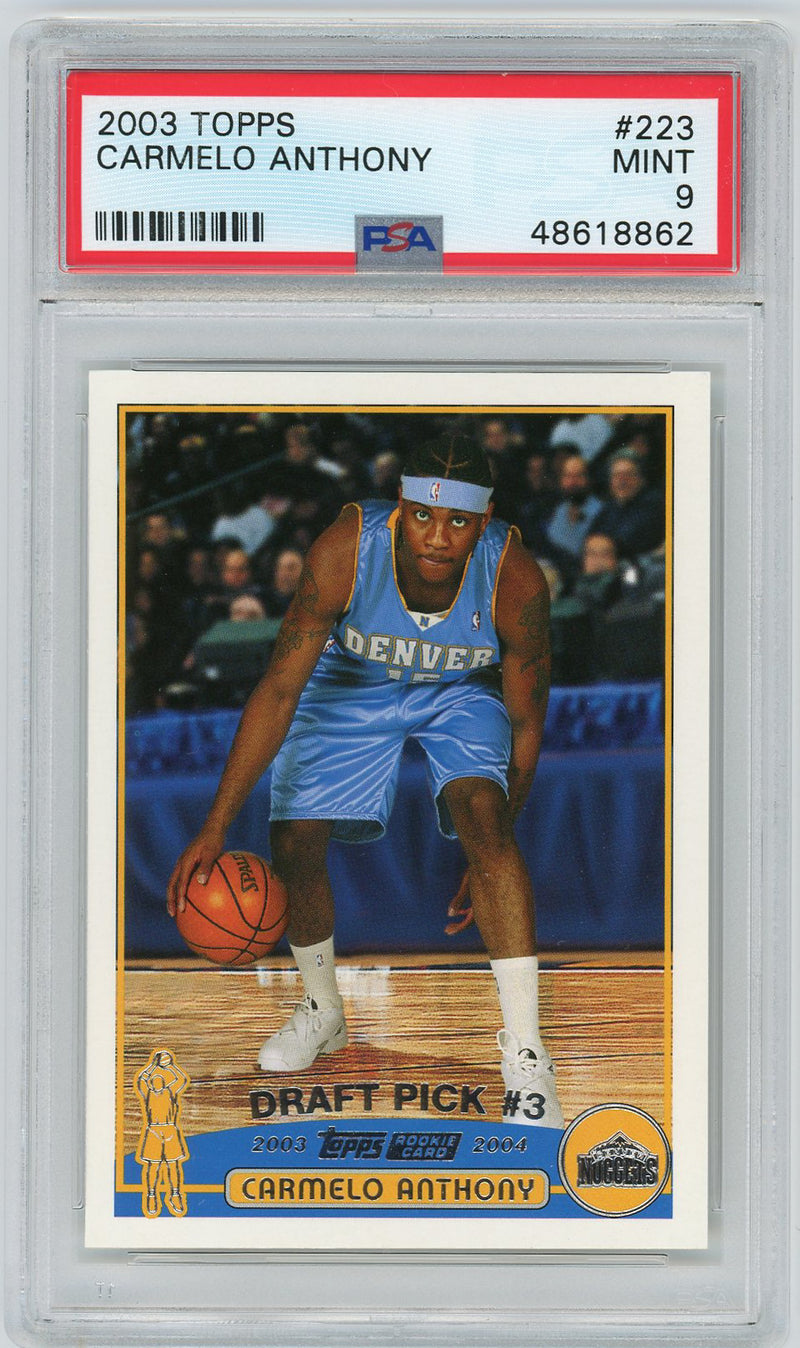 Carmelo Anthony Denver Nuggets 2003 Topps Basketball Rookie Card RC #223 Graded PSA 9 MINT-Powers Sports Memorabilia