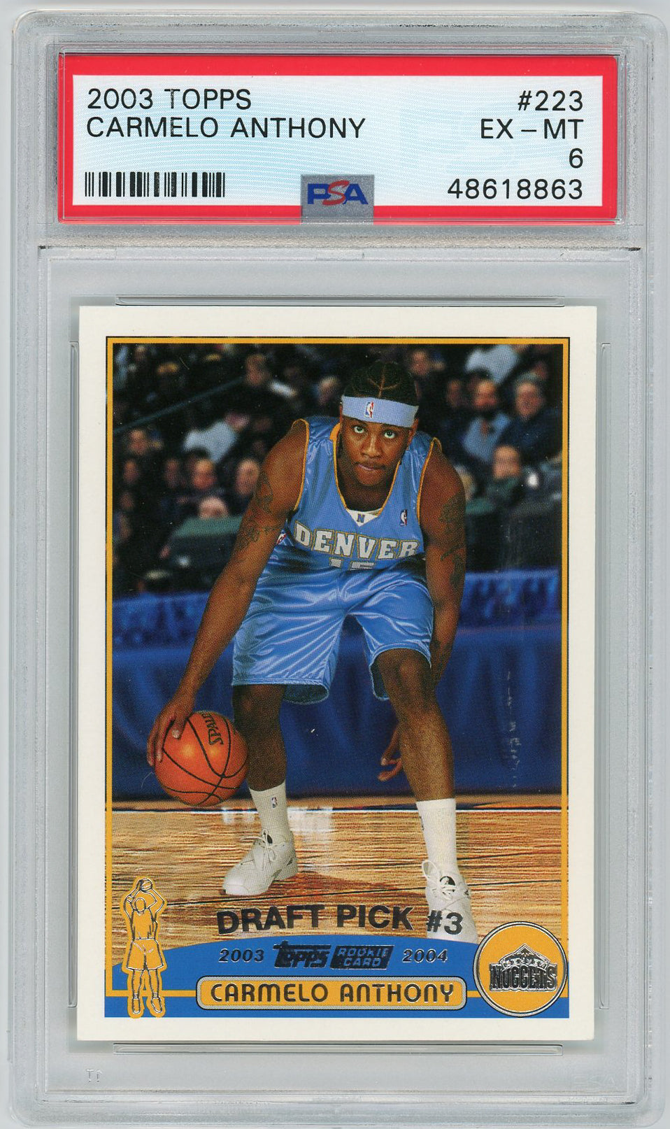 Carmelo Anthony Denver Nuggets 2003 Topps Basketball Rookie Card RC #223 Graded PSA 6-Powers Sports Memorabilia