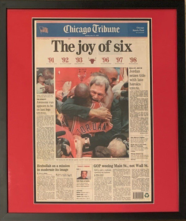 Chicago Bulls Tribune Michael Jordan 6 NBA Championships Framed Basketball Original Front Page Newspaper 6/15/98-Powers Sports Memorabilia
