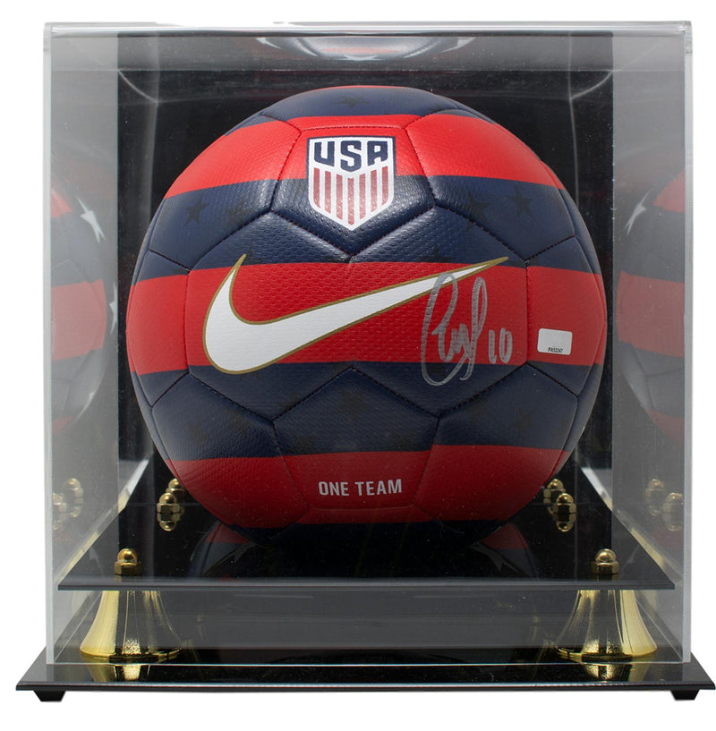Christian Pulisic Signed Nike 2018 Red Blue Soccer Ball Panini w/Acrylic Case PSM-Powers Sports Memorabilia