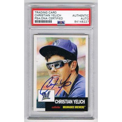 Christian Yelich Milwaukee Brewers Autographed 2018 Topps Living Signed Baseball Trading Card PSA DNA COA-Powers Sports Memorabilia