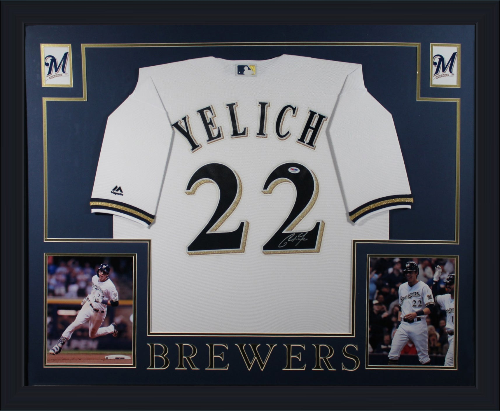 Christian Yelich Autographed Milwaukee Brewers Signed Baseball Framed Jersey PSA DNA COA-Powers Sports Memorabilia