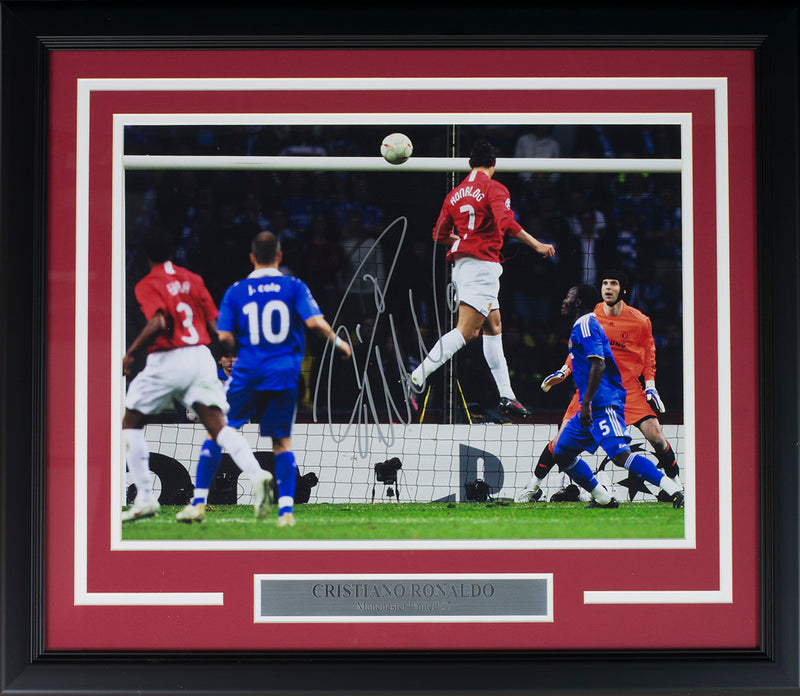 Cristiano Ronaldo Signed Framed Manchester U 12x16 UCL Goal Soccer Photo Icons PSM-Powers Sports Memorabilia