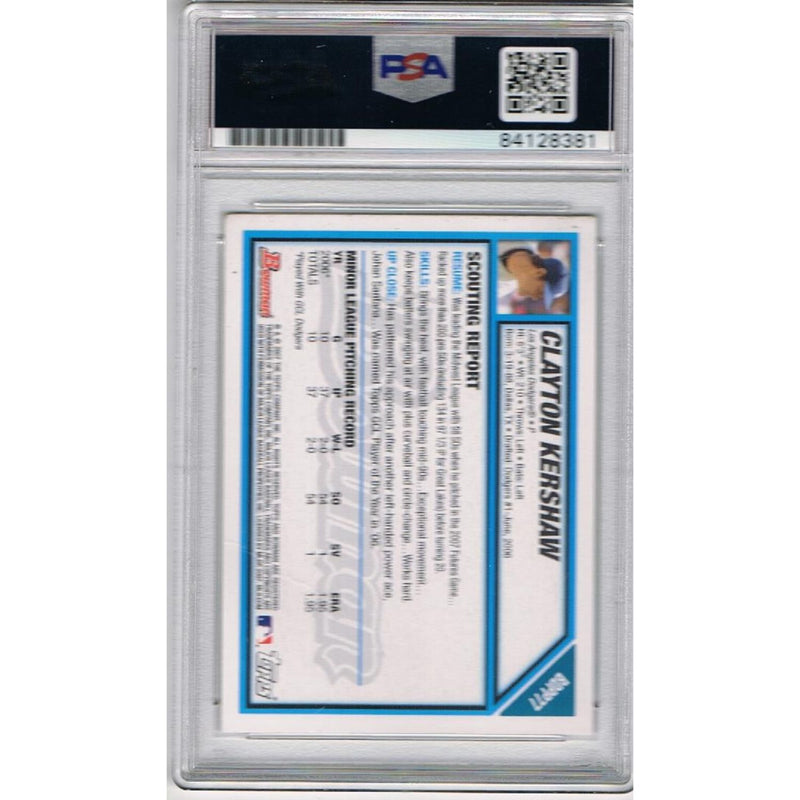 Clayton Kershaw Los Angeles Dodgers Autographed 2007 Bowman Signed Baseball Rookie Card RC PSA DNA COA-Powers Sports Memorabilia