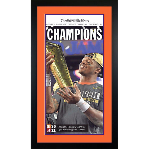 Clemson Tigers 2016-2017 National Football Championship Greenville News Framed Newspaper DeShaun Watson Cover BLACK Photo-Powers Sports Memorabilia