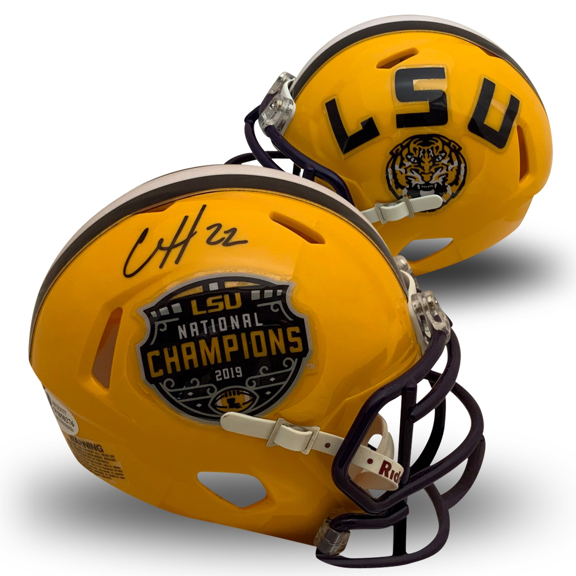 Clyde Edwards-Helaire Autographed LSU Tigers 2019 National Champions Signed Football Speed Mini Helmet Beckett BAS COA-Powers Sports Memorabilia