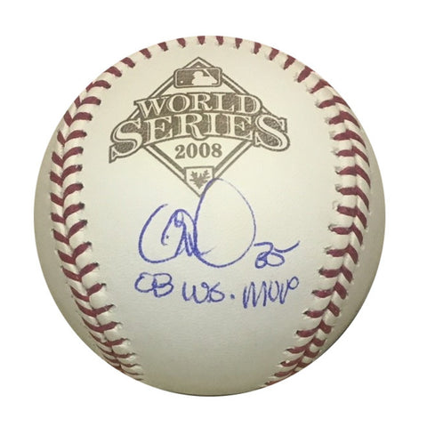 Cole Hamels Philadelphia Phillies Autographed 2008 World Series MVP Signed Rawlings Baseball JSA COA With UV Display Case