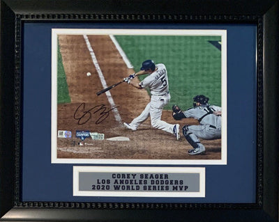 Corey Seager Autographed Los Angeles Dodgers Signed 2020 World Series MVP MLB Baseball 8x10 Framed Photo Fanatics Authentic COA-Powers Sports Memorabilia