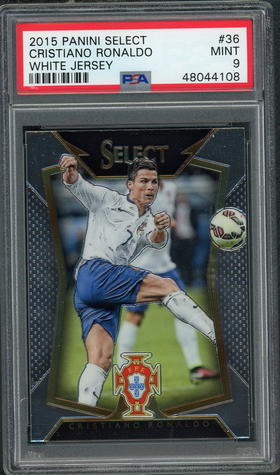 Cristiano Ronaldo Portugal 2015 Panini Select Soccer Card #36 Graded PSA 9 MINT-Powers Sports Memorabilia