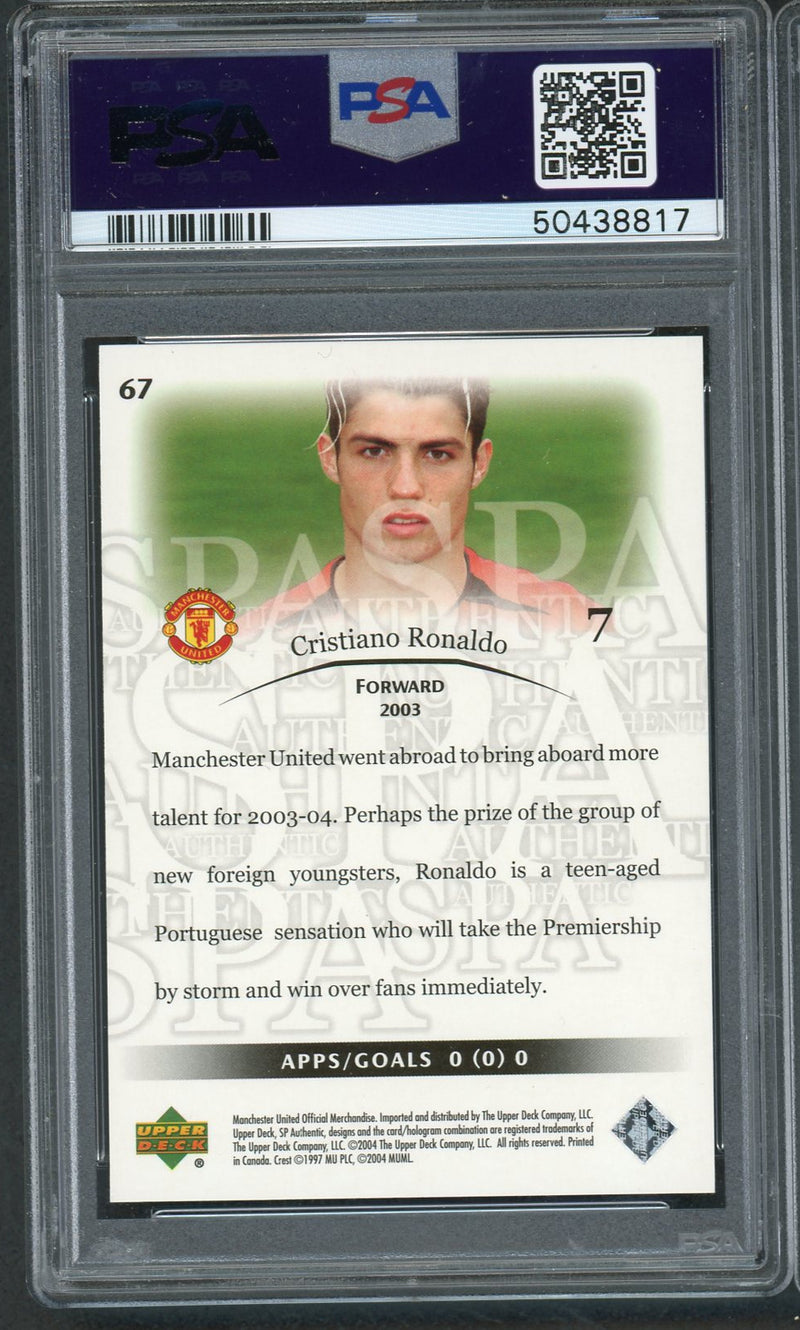 Cristiano Ronaldo 2004 SP Authentic Manchester United Soccer Card #67 Graded PSA 9 MINT-Powers Sports Memorabilia