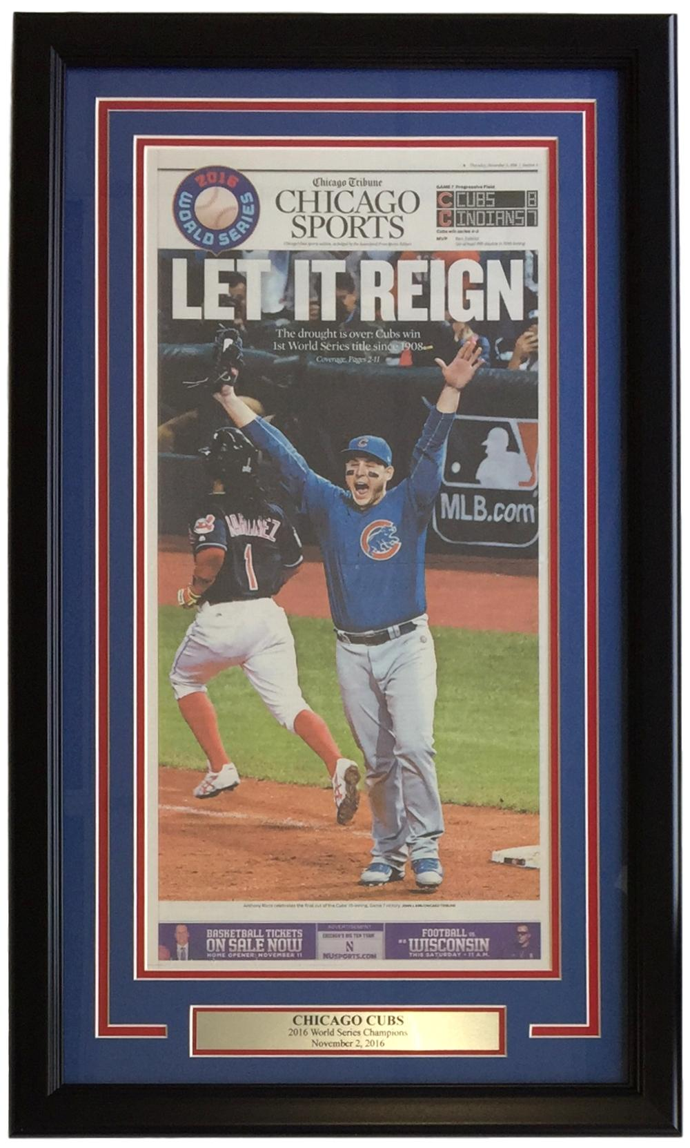 Chicago Cubs Framed Nov 3 2016 World Series Champs Chicago Tribune Sports Page PSM-Powers Sports Memorabilia