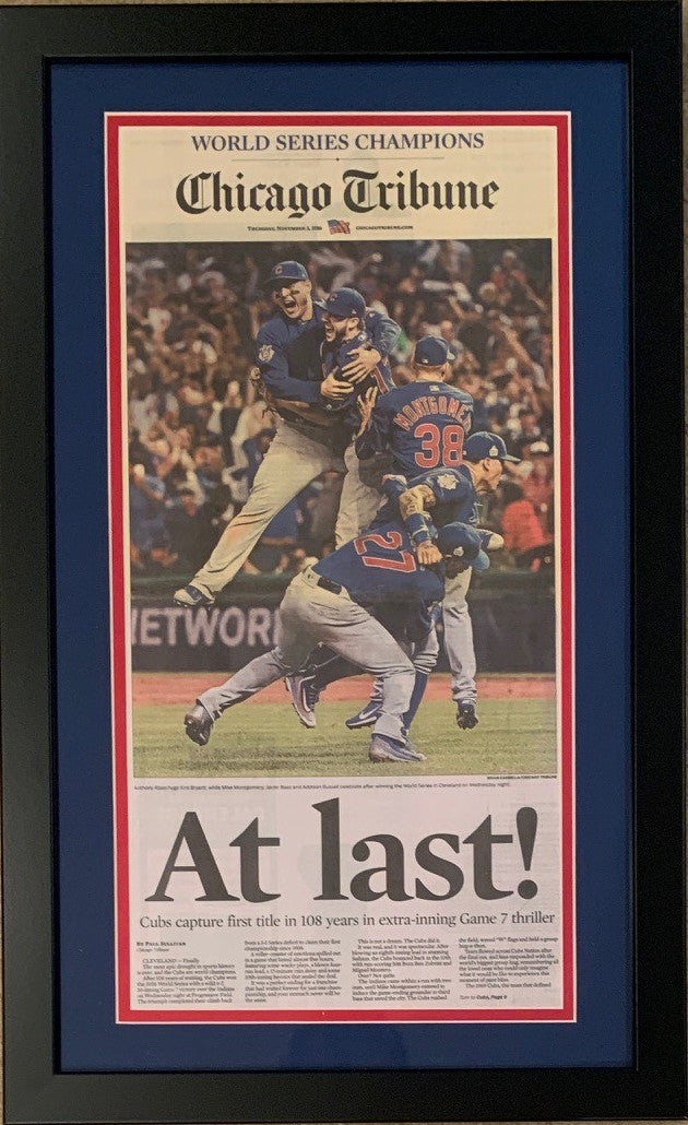 Chicago Cubs 2016 World Series Baseball Champions AT LAST Tribune Framed Newspaper BLACK FRAME ORIGINAL FRONT PAGE YELLOWING-Powers Sports Memorabilia