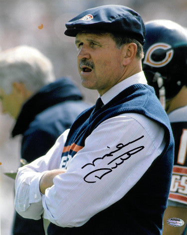 Mike Ditka signed Chicago Bears Coaching 8x10 Photo minor spot (navy hat)- Schwartz Holo PSM-Powers Sports Memorabilia