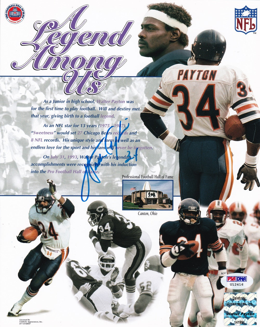 Walter Payton Chicago Bears Signed 8x10 A Legend Among Us Collage Photo PSA/DNA PSM-Powers Sports Memorabilia